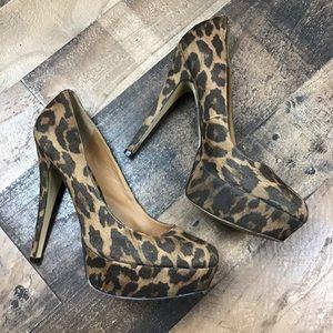 Aldo 39 Platform Heels Tan Brown Leopard